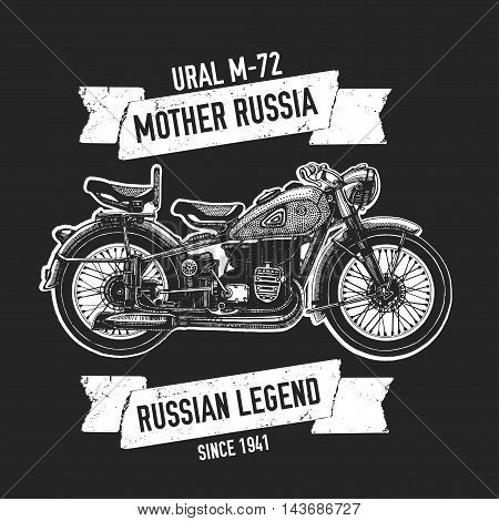 Mother russia M-72 Hand drawn vector image with motorcycle quote