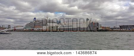 Southampton/UK. 21st August 2016. Cruise Ship Arcadia is moored up at Southampton docks awaiting departure on a European Cruise.