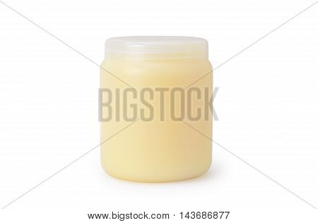 Shampoo or body care cosmetic bottle with pump isolated on white background.