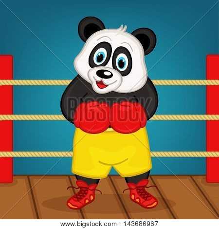 panda boxer on ring - vector illustration, eps