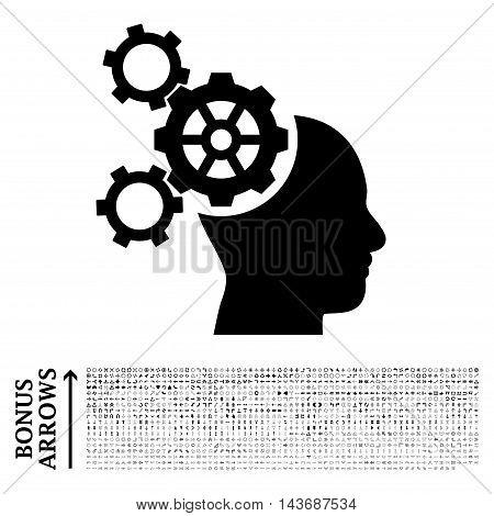 Brain Mechanics icon with 1200 bonus arrow and navigation pictograms. Vector illustration style is flat iconic symbols, black color, white background.