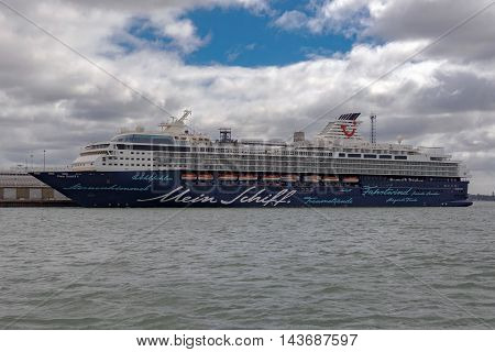 Southampton/UK. 21st August 2016. Cruise Ship Mein Schiff 1 is moored up at Southampton docks awaiting departure on a European Cruise.