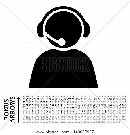 Call Center Operator icon with 1200 bonus arrow and direction pictograms. Vector illustration style is flat iconic symbols, black color, white background.