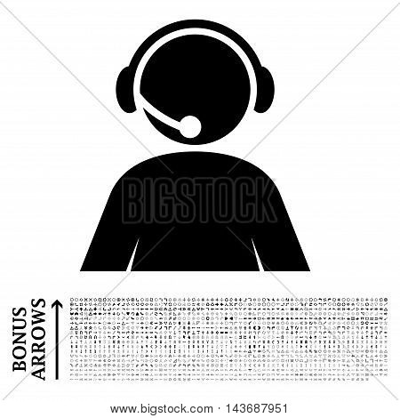 Call Center Operator icon with 1200 bonus arrow and navigation pictograms. Vector illustration style is flat iconic symbols, black color, white background.