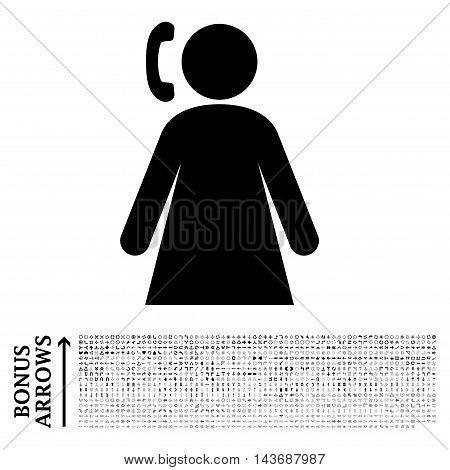 Calling Woman icon with 1200 bonus arrow and navigation pictograms. Vector illustration style is flat iconic symbols, black color, white background.