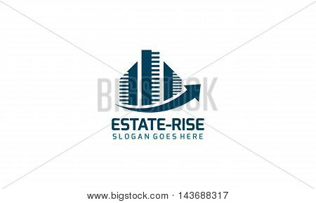 Real estate logo with rising arrow suitable for any kind of business related with real estate,buildings,houses,constructions