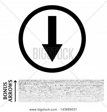 Down Rounded Arrow icon with 1200 bonus arrow and navigation pictograms. Vector illustration style is flat iconic symbols, black color, white background.