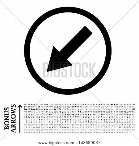 Down-Left Rounded Arrow icon with 1200 bonus arrow and direction pictograms. Vector illustration style is flat iconic symbols, black color, white background.