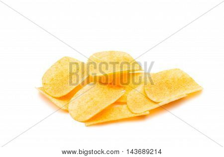 Potato chips food on a white background