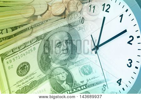 Clock and American currency. Time is money concept