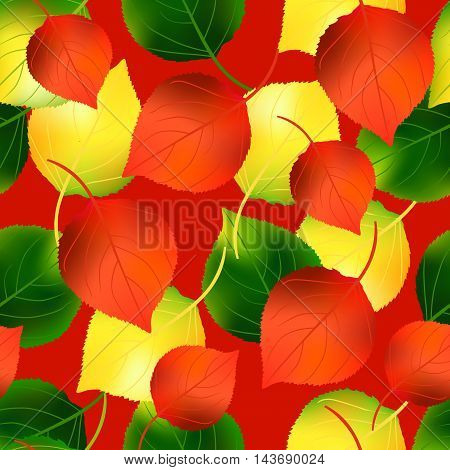 Colorful autumn seamless pattern with birch leaves. Vector illustration.