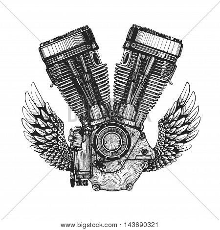 Hand drawn vector icon of motor, engine