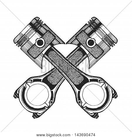 Hand drawn vector image of pistons For any kind of design