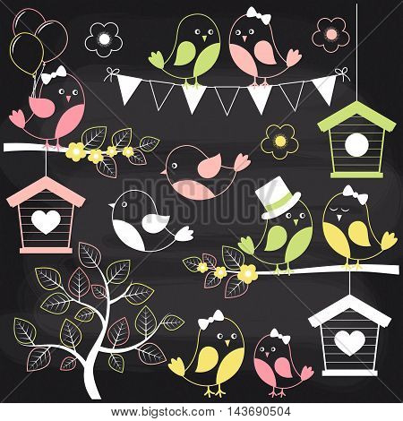 Vector chalkboard birds with birdhouses and branches
