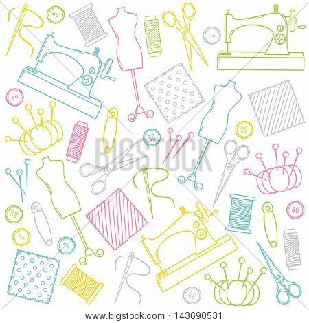Vector doodle colorful hand drawn sewing set