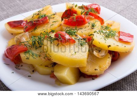 Vegetarian Dish Of Stewed Potatoes And Bell Peppers