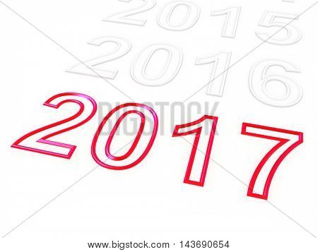 Happy New Year 2017. 3D illustration