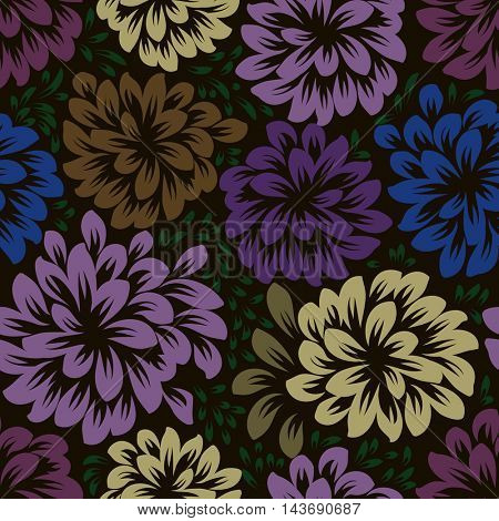 Color dark seamless floral wallpaper pattern vector template. Seamless wrapping paper, textile or upholstery print.