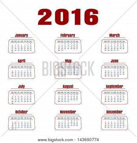 Simple calendar 2016. Vector calendar for 2016. Week starts from sunday.