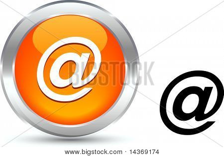 Arroba  realistic button. Vector illustration.
