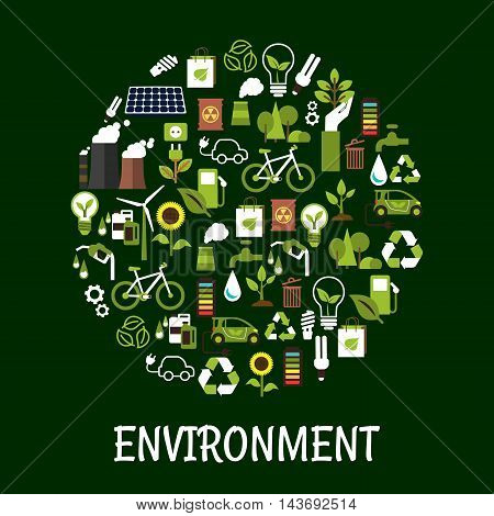 Environmental ecology friendly poster. Green eco recycling icon. Environment protection signs and symbols