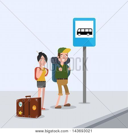 Lovers are waiting for the bus at the stop and go to the Journey . EPS 10. Vector. flat.