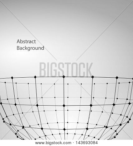 Illustration Abstract Particles of Circle with Mesh Polygonal Elements for Business Presentations - Vector