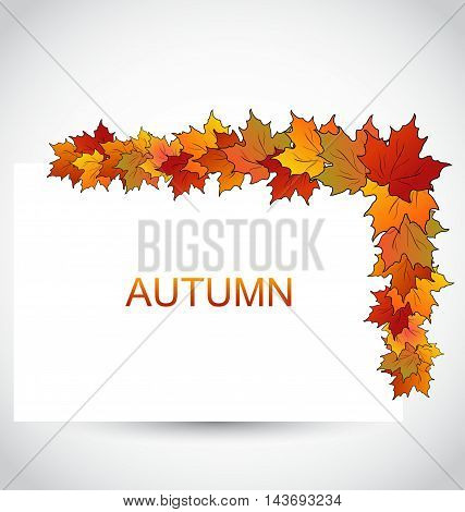 Illustration Colorful Autumn Maple Leaves with Note Paper - Vector