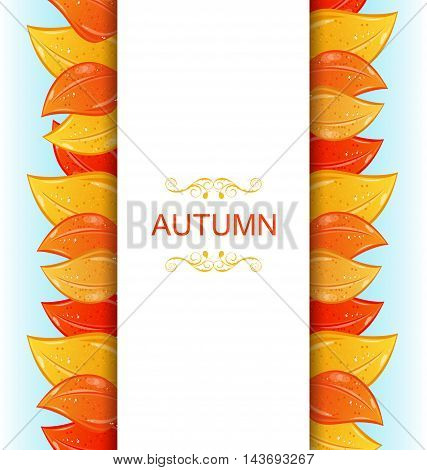 Illustration Abstract Autumn Invitation with Colorful Leaves - Vector