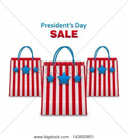 Illustration Set Shopping Bags in USA Patriotic Colors for Presidents Day Sale. Isolated on White Background - Vector