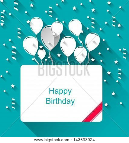 Illustration Greeting Invitation with Balloons for Happy Birthday, Modern Flat Style - vector