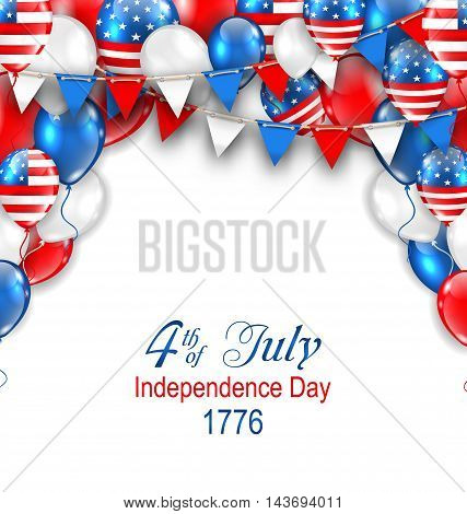 Illustration American Traditional Celebration Background for Independence Day. Poster with Balloons and Bunting - Vector