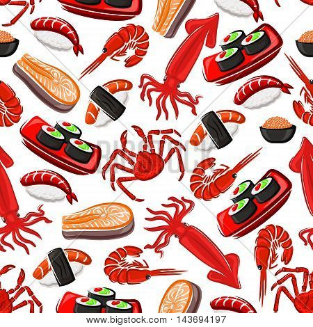 Seafood seamless pattern background. Vector flat icons of sushi, shrimp, squid, salmon, crab, rice, nori. Japanese oriental asian cuisine wallpaper for kitchen, restaurant menu