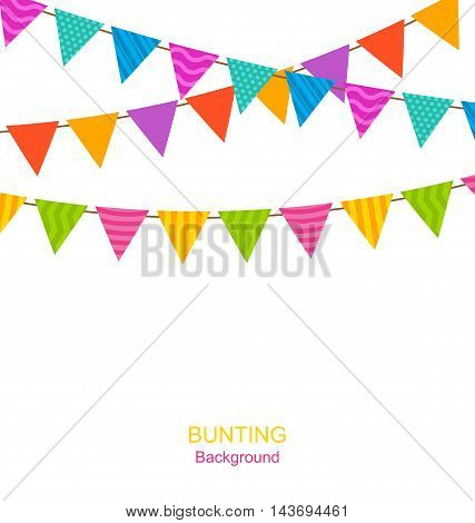 Illustration Colorful Buntings Flags Garlands for Your Holiday, Isolated on White Background - Vector