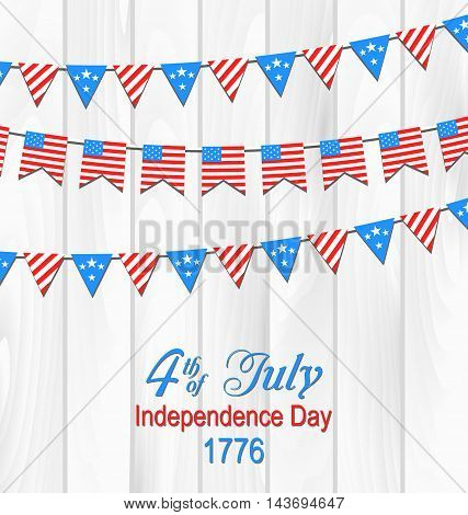 Illustration Party Wooden Background in Traditional American Colors with Hanging Bunting - Vector