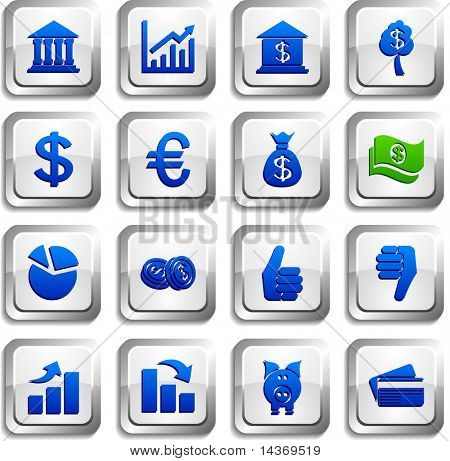 MOney  button set. Vector illustration.
