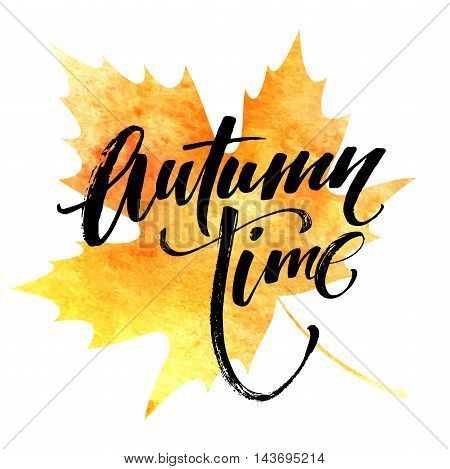 Fall time poster with colorful watercolor leaves. Vector illustration EPS10