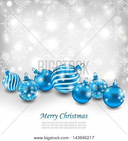 Illustration Christmas Abstract Shimmering Background with Blue Balls, Lighten Wallpaper - Vector