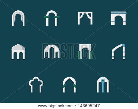 Different common types and shapes of architectural arch. Archway, gates, construction elements of exterior and interior. Set of flat color style vector icons on blue background.