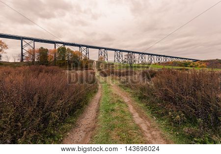 Toned image of the Moodna Viaduct in the Hudson Valley New York