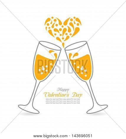 Illustration Wineglasses of Sparkling Champagne and Splashes in Form Heart for Happy Valentines Day - Vector