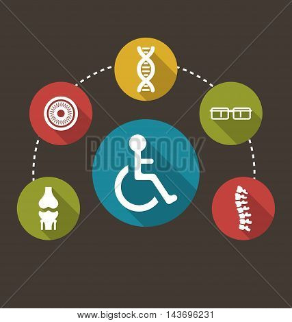 Illustration Flat Colorful Icons Disabled with Limited Opportunities and Birth Defects - Vector