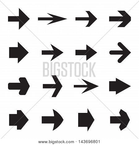 Set of simple arrows to indicate the way, a certain direction, the next button, etc. Black symbols isolated on a white background. Vector illustration