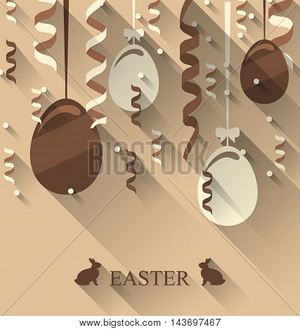 Illustration Easter background with chocolate eggs and serpentine, trendy flat style - vector