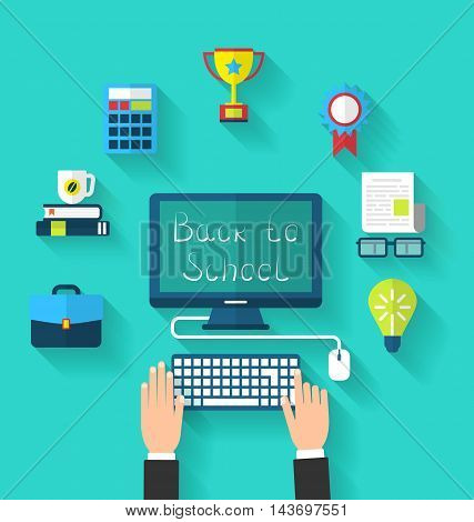 Illustration Flat Icons and Objects for High School and College Education with Teaching and Learning, Long Shadow Style Design - Vector