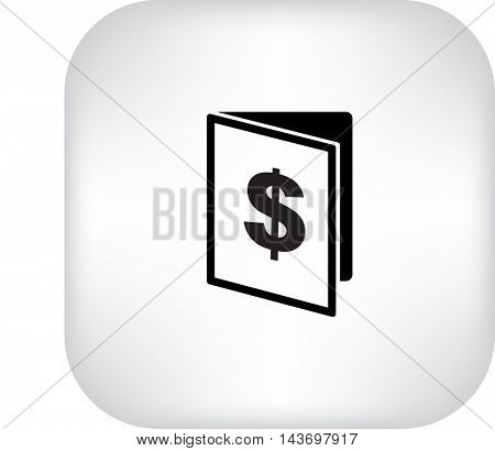 Flat icon. Note pad with a dollar sign.