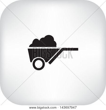 Flat icon. Garden wheelbarrow.