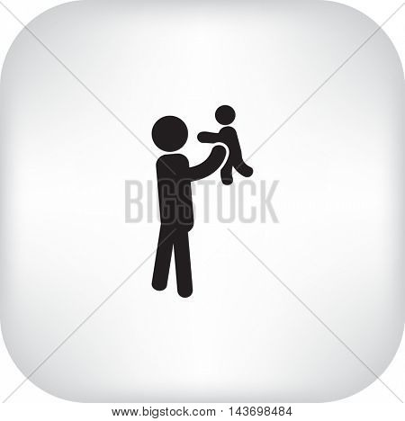 Flat icon family. Dad with a child.