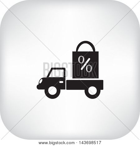 Flat icon. Delivery of purchases. A discount.