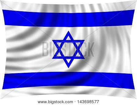 Flag of Israel waving in wind isolated on white background. Israeli national flag. Patriotic symbolic design. 3d rendered illustration